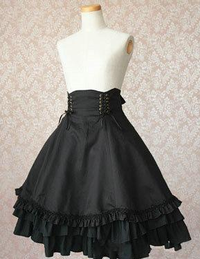 Classic 2018 Black Cotton Lolita Skirt with Lace-up Embellishment A-line Empire Waist Ruffled Dress For Women Customized