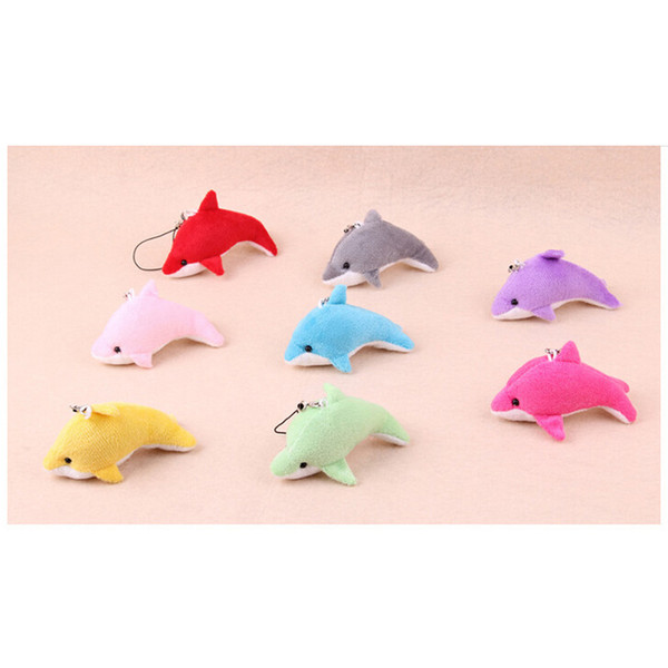 Kawaii Mini Lovely Dolphin Charms Kids Plush Toys Home Party Pendant Gift Decorations Cell Phone Accessories Free Shipping