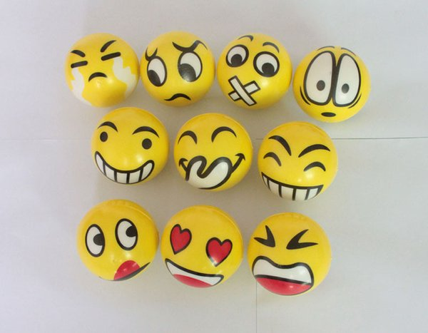 6.3cm QQ Emoji Smiling face ball Stress Squeeze Ball Wrist Finger Training Balls Soft Sponge PU Ball Children Kids Toys DHL 00384