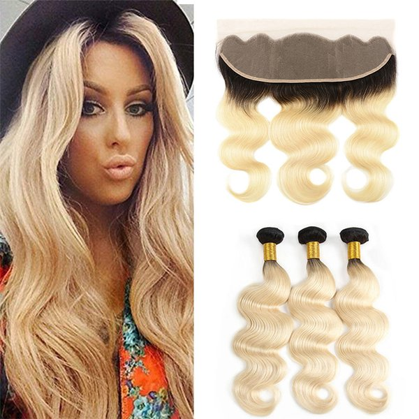 Two Tone 1B/613# Dark Roots Ombre Remy Human Hair Body Wave Bundles With 13x4 Honey Blonde Ear to Ear Lace Frontal Closure