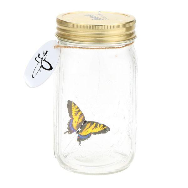 Romantico vetro LED lampada Buerfly Jar Valentine bambini regalo decorazione giallo