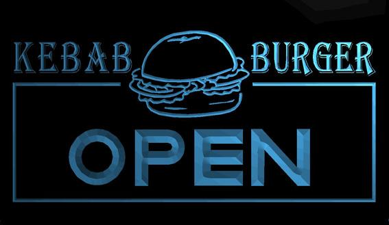 LS1119-b-OPEN-Kebab-Burger-Cafe-Fast-Food-Neon-Light-Sign Decor Free Shipping Dropshipping Wholesale 8 colors to choose