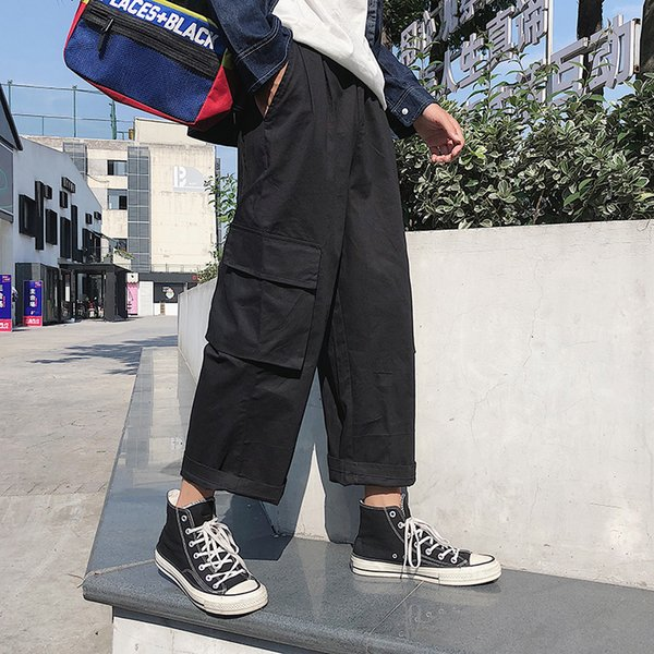 DEKUSI Autumn Clothing Three-dimensional Pocket Wash Overalls Nine Part Pants Male Leisure pantalon homme streetwear