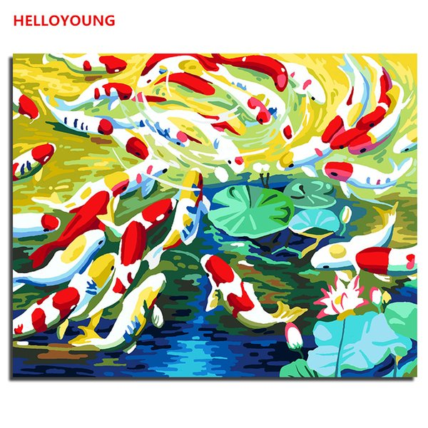 HELLOYOUNG Digital Painting Handpainted Oil Painting Wealthy Fish by numbers oil paintings picture drawing scroll paintings