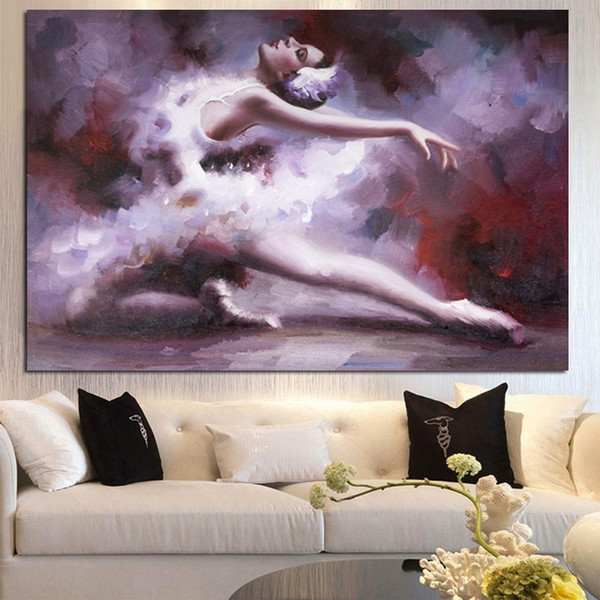 Hand painted Abstract Ballet Dance Portrait Oil paintings Handmade Modern Ballerina Beauty Girl Wall Picture for Living Room