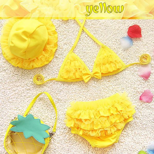 Toddler Kids Maillots De Bain Bébé Fille Fleurs Maillot De Bain Filles Bikini Set Summer Enfants Maillots De Bain Maillot De Bain Costume 2 Pcs + Bonnet De Bain Costume Beachwear