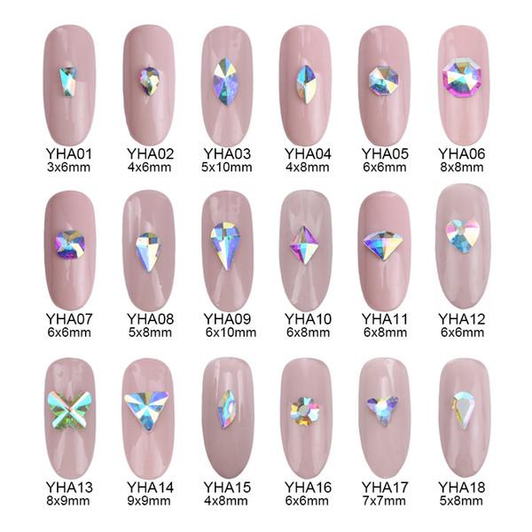 100 pcs paillettes cristal ab flatback strass pour nail art décoration étoiles en forme de coeur coeur conçoit accessoires de salon de coiffure fournir