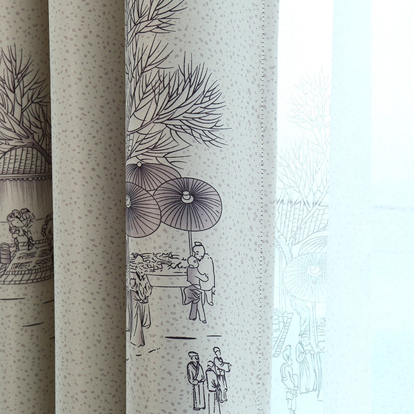 Qingming Shanghe Chinese Ink Paint Window Shade Blackout Curtains for Living Room Curtains for Bedroom Study room