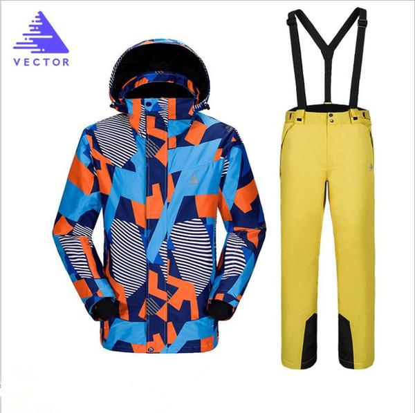 Men Vector Brand Ski Jacket Pant Windproof Waterproof Outdoor Sport Wear Skiing Snowboard Super Warm Clothing Trouser Male Suit