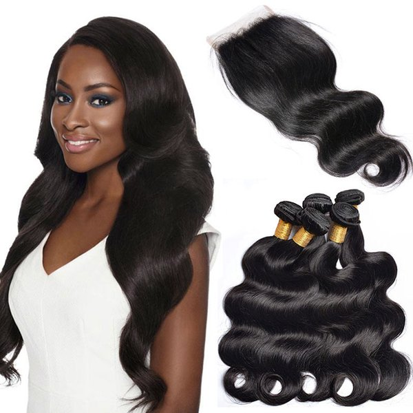Brazilian Body Wave Human Weave Hair Bundles With Closures Natural Black 4 Bundles With 1 Closure Cheap Human Hair Extensions For Wholesale