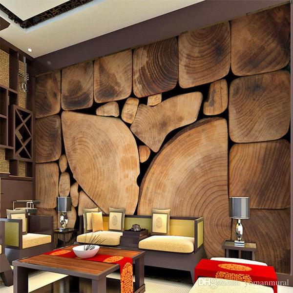 Custom Wall Murals Woods Grain Growth Anillos Retro pintura europea Wallpaper árbol de la sección transversal belleza decoración del hogar