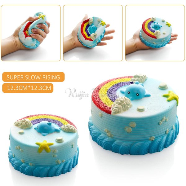 2018 New Arrival Jumbo 12CM Squishy Bread with fragrant Blue Ocean Cake Kawaii Cute Charm Slow Rising Bread Bun Kid Toy Gift Fun