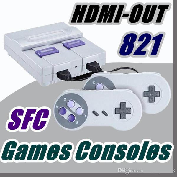 Frete grátis DHL HDMI Out TV Consola de Jogos pode armazenar 821 jogos de Vídeo Handheld para consoles de jogos SFC com caixas de varejo T-JY
