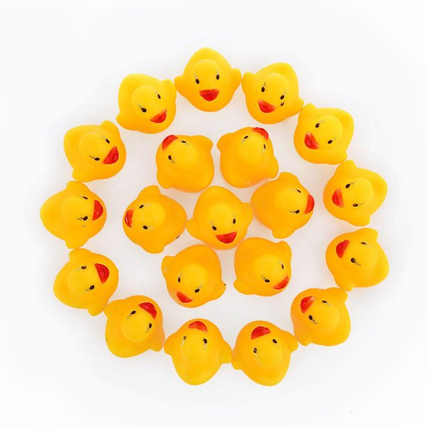 best selling 2018 Baby Bath Water Duck Toy Sounds Mini Yellow Rubber Ducks Kids Bath Small Duck Toy Children Swiming Beach Gifts OTH872