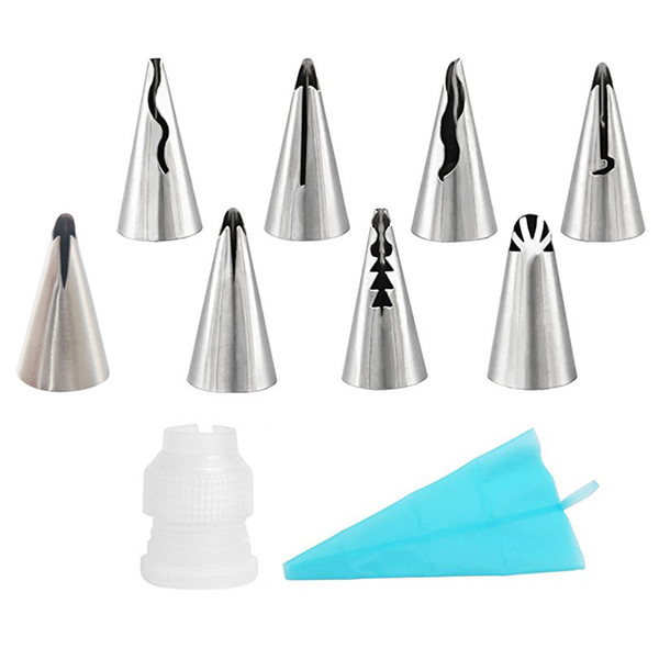10Pcs/Set Russian Piping Tips 8 Stainless Steel Icing Nozzle With 1 Reusable Silicone Pastry Bag+1 Coupler Cake Decorating Tools