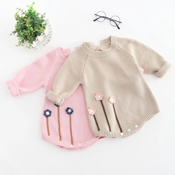 fb0ba801c9a8 New Autumn Infant Baby Knitted Rompers Girls Overalls Knitwear Sweater  Flowers Romper Children Toddlers Climb Clothes Rompers 14265