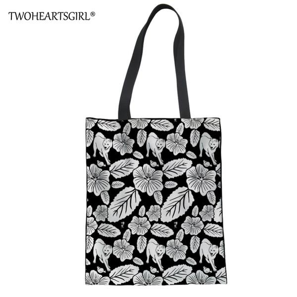 Twoheartsgirl Fashion Linen Tote Bags for Girls Cute Akita Printed Ladies Summer Beach Bags Women Large Capacity Canvas Handbags
