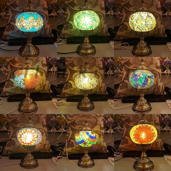 2018 Romantic Light E27hand Inlaid Glass Mosaic Bedroom Living Room  Decorative Table Lamps Of Mediterranean Nice Style Turkish Lamps From ...