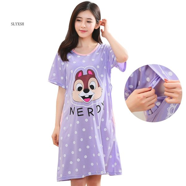Cotton Cartoon Maternity 2018 New Sleepwear Pregnant Women Pajamas Nursing Breast Feeding Nightgown Clothes For short Sleeve