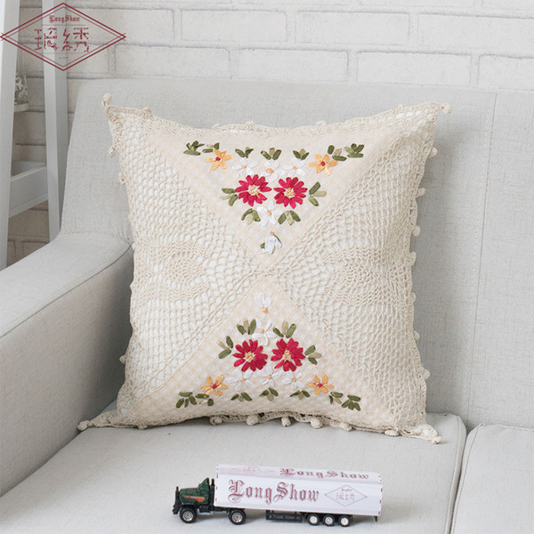 LongShow 45x45cm Square Home Decorative Crochet Ribbon Embroidery Natural Cotton Floral Style Ribbon Embroidered Pillow Case