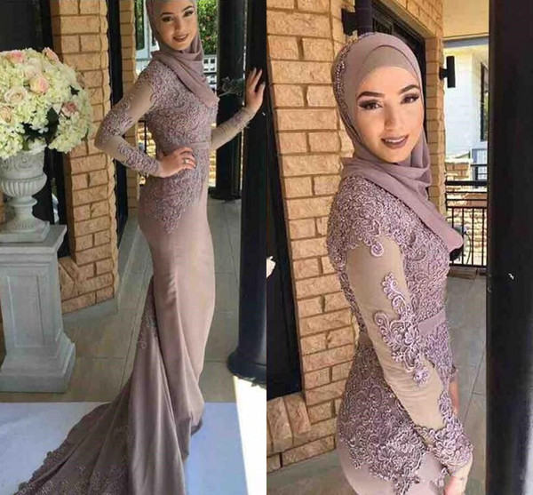 Vintage Cheap Modest Arabic High Neck Mermaid Long Sleeves Prom Dresses New Lace Appliqued muslim Formal Evening Gowns
