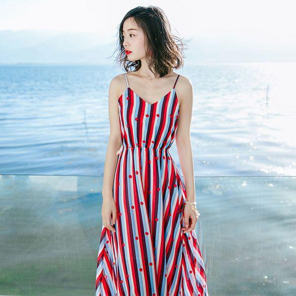 Sexy Summer New Women's Sleeveless Striped Chiffon Dress Bohemia Beach Holiday Beach Skirt 2018 long dress