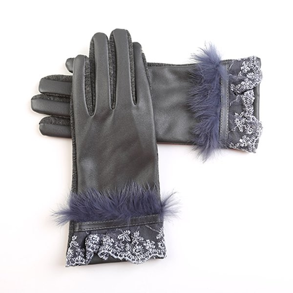 2018 Rabbit Fur Lace Gloves Women Wintertime Wrist Multi Color Genuine Leather Women Keep Warm Wrist Gloves for female