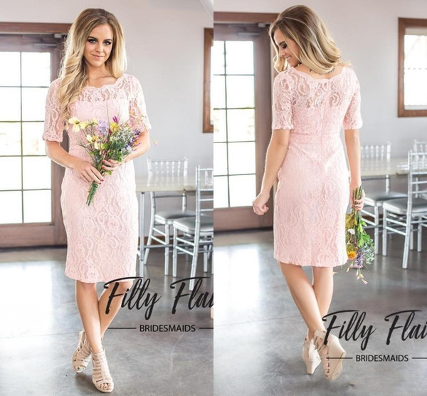 2019 Cheap Simple Country Style Full Lace A Line Bridesmaid Dresses Elegant Crew Neck Half Sleeves Zipper Back Maid of Honor Gowns
