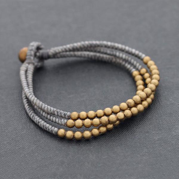 Nouvelles perles népalaises faites à la main avec des perles en laiton Bracelet de l'amitié en cire