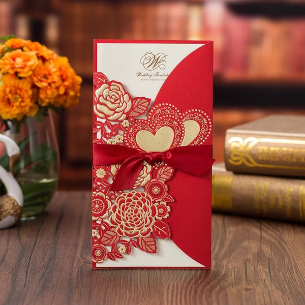 Laser Cut Wedding Invitations Free Printing Invitation Cards With Gilding Flowers Hearts Personalized Wedding Invitations Bw I0044r Fun Wedding