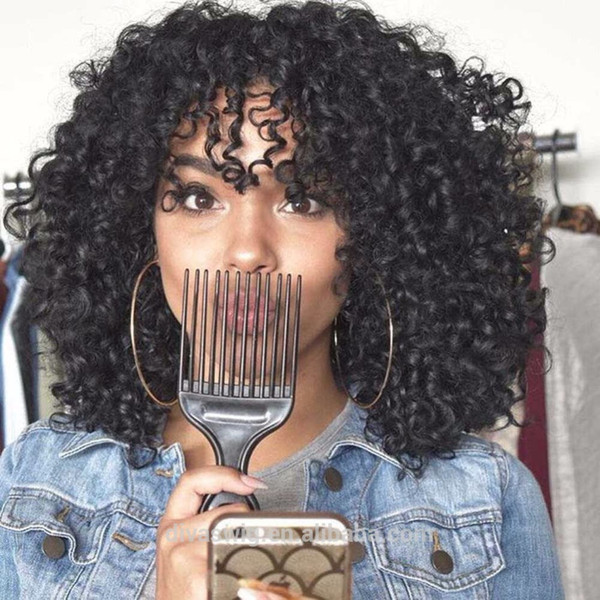 180% density brazilian hair lace front wig afro curly human hair wigs for black women with bang 14inch