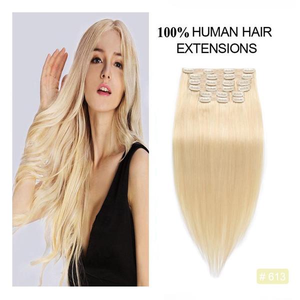 Clip completa per capelli biondi sbiancati Clip per capelli estensioni senza cuciture Produce capelli umani lunghi e remy remy