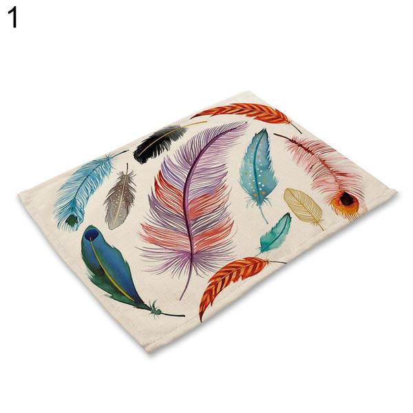 Decoración de la tabla Colorida Pluma de Impresión de Aislamiento Mantel Algodón Lino Comedor Almohadilla Estera
