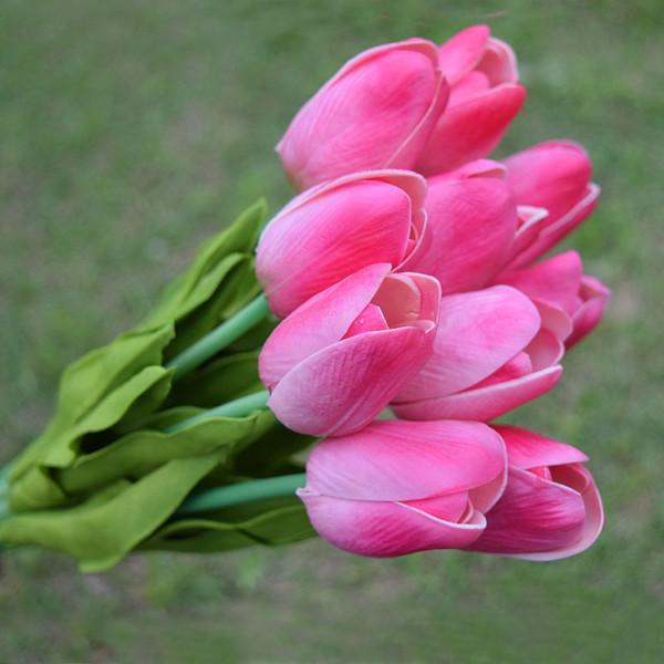 Stok Pu Mini Lale Gerçek Dokunmatik Yapay Çiçekler 50 Adet Lot Ev Dekoratif Çiçek Düğün Dekor Ucuz Flores De Artificiais