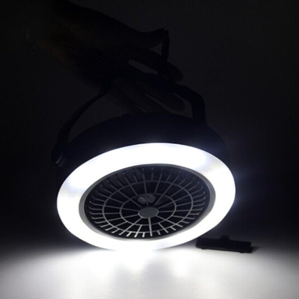LumiParty Portable Battery Operated LED Fan Light Mini Air Cooler Outdoor Camping Tent Lamp with Hanging Hook