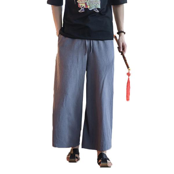 2018 Men Cotton Linen Wide Leg Pants Japanese Harajuku Kimono Male Casual Loose Trousers Skirt Pant mens Joggers Harem Pants