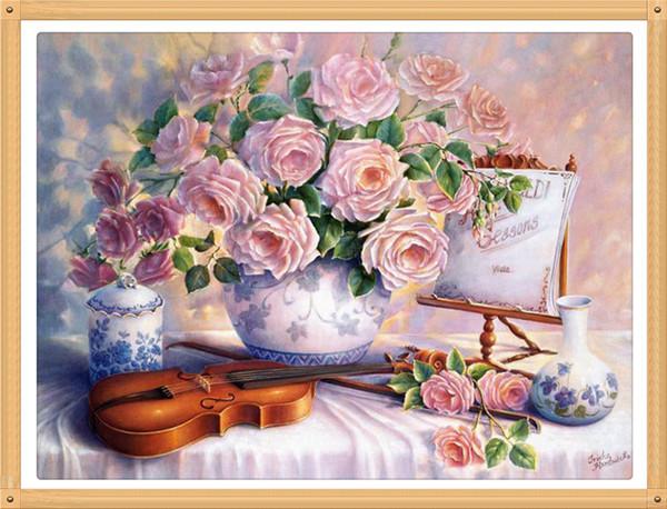 Pink Roses Vase Violin 40x30cm diy pieno diamante Flowers pittura punto croce kit Crafts decorazione della casa diamond painting