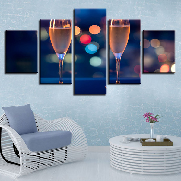 Canvas HD Prints Pictures Home Decor Wall Art Framework 5 Pieces Champagne Glass Painting Modular Living Room Celebrate Posters