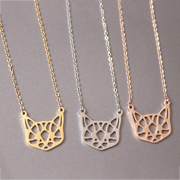 Everfast Origami Cat Head Pendants Necklace Maxi Colar Simple Stainless Steel Charms Chokers Necklaces Women Girls Kids Loved Gift