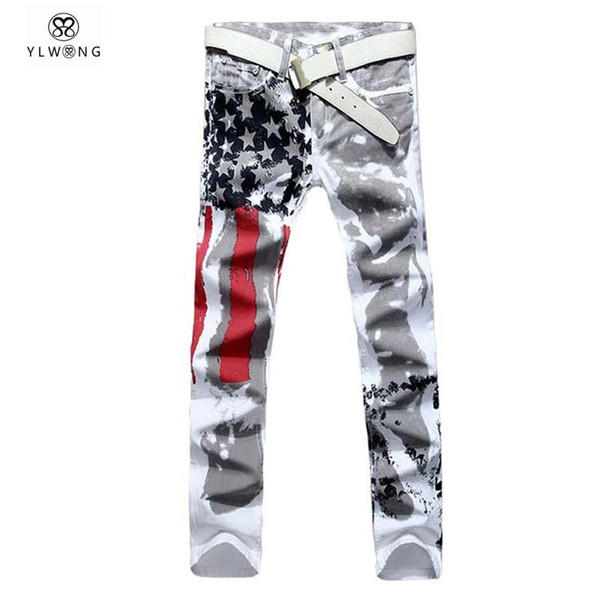 Wholesale-Mens Printed Jeans Plus Size Flag Printing Design White Jeans For Men Stars Striped Straight Ripped Jeans Male 36