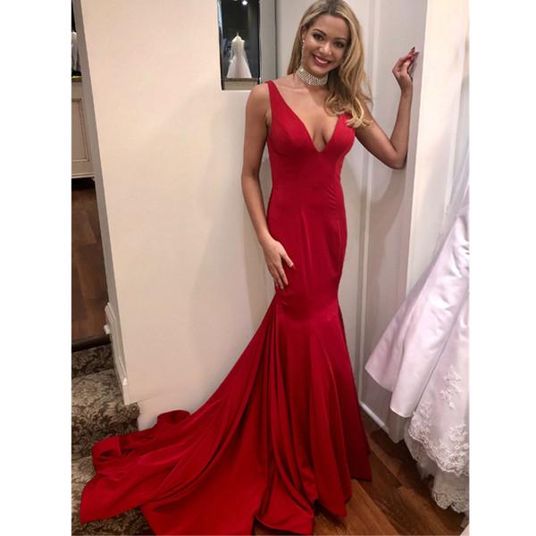 Sexy Red Mermaid Evening Dresses V Neck Spaghetti Strap Backless Formal Gown Sweep Train Elastic Satin Long Vestidos De Fiesta