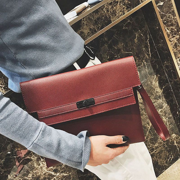 New Vintage Women PU Leather Handbags Envelope Clutch Bag Female Business Lady Leather Purse Briefcase Drop Shipping