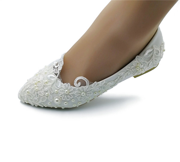 Handcrafted pearlRibbon Lace Flower Bridal Shoes Pointed Toe Wedding Party Dancing Shoes Beautiful Bridesmaid Shoes Women Flats size EU35-43