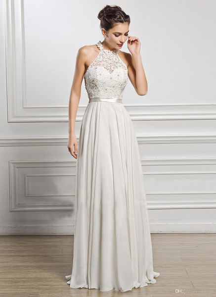 olilove / Designer Branco Longo Prom Vestidos de Dama de Honra Do Partido Halter Pescoço Lace Appliqued Pérolas Barato Vestidos de Noite Frete Grátis