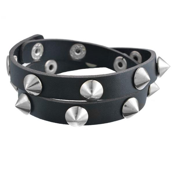 FUNIQUE Gothic Punk Metal Men Women Multilayer Bracelet Cone Stud Spikes Rivet Leather Bracelet Wristband Cuff Bangle Cool