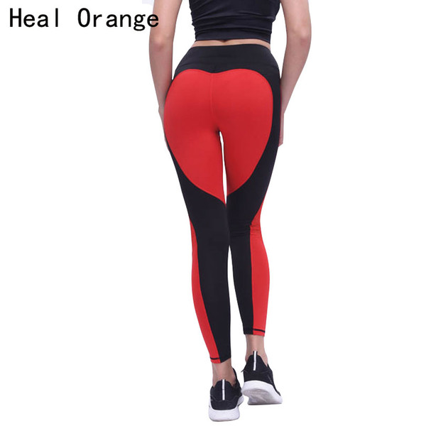 HEAL ORANGE Sport Leggings Love Heart Patchwork Fitness Push Up Yoga Pants Leggins Sports Clothing Running Tights Gym Sportswear