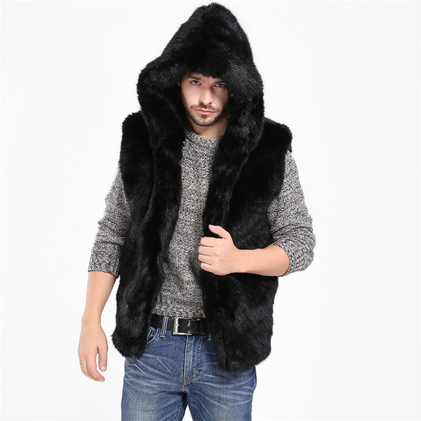 sleeveless Vest Jacket Men Faux Fur Vest Jacket Sleeveless Winter Body Warm Coat Hooded Waistcoat Gilet #0912 487g-733g