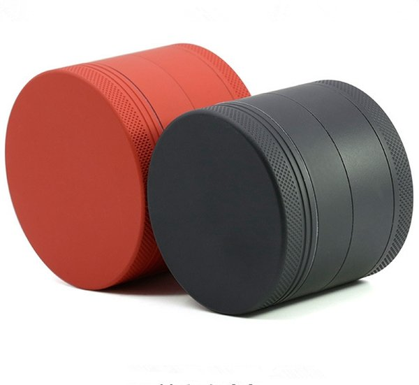 New Style 4 layer 50mm Aluminum Alloy Herb Grinder Of External Advanced Abrasion Proof Springiness Rubber Paint