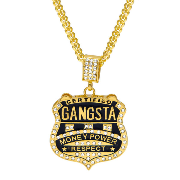 2018 Hip Hop Gangsta Badge Necklace Gold Silver Color Music Rock Rappers Rhinestone Charm Necklace Fashion Shining Crystal Necklace