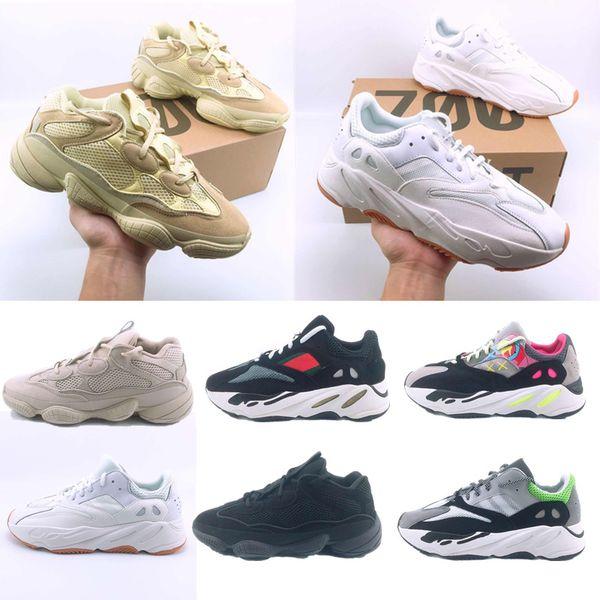 Дешевые Новый 500 румяна пустыня крыса Kanye West 700 волна Бегун кроссовки бежевый желтый кроссовки дизайнер обувь спортивная кроссовки открытый обувь